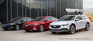 Masthead image showing the lineup of three new 2018 Buick Regal models including the Sportback, GS, and TourX luxury vehicles.
