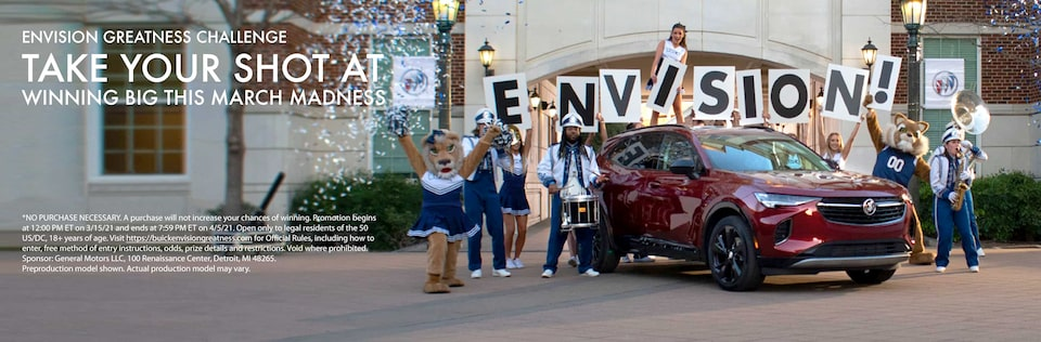 2021 Buick Envision compact SUV with cheerleading squad