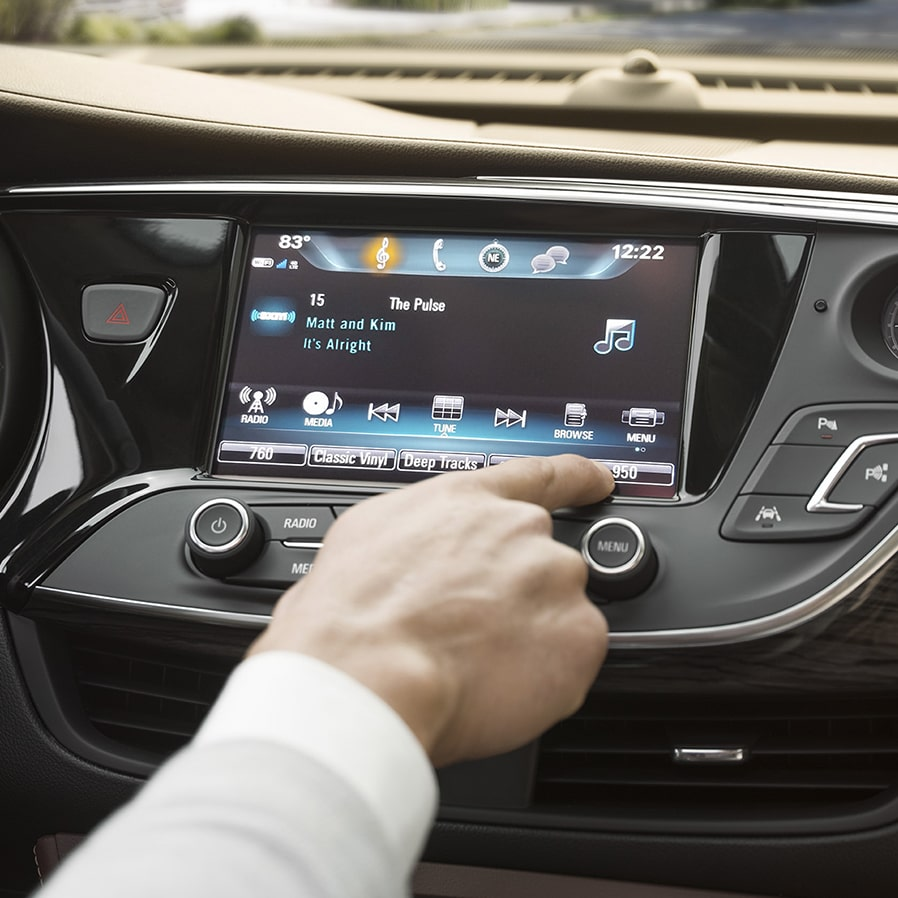 Closeup image of the color touch display in a Buick vehicle using the SiriusXM  features.
