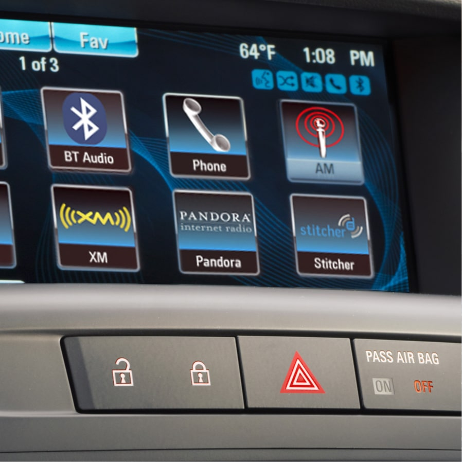 Closeup image of the color touch display in a Buick vehicle using the Pandora radio  features.