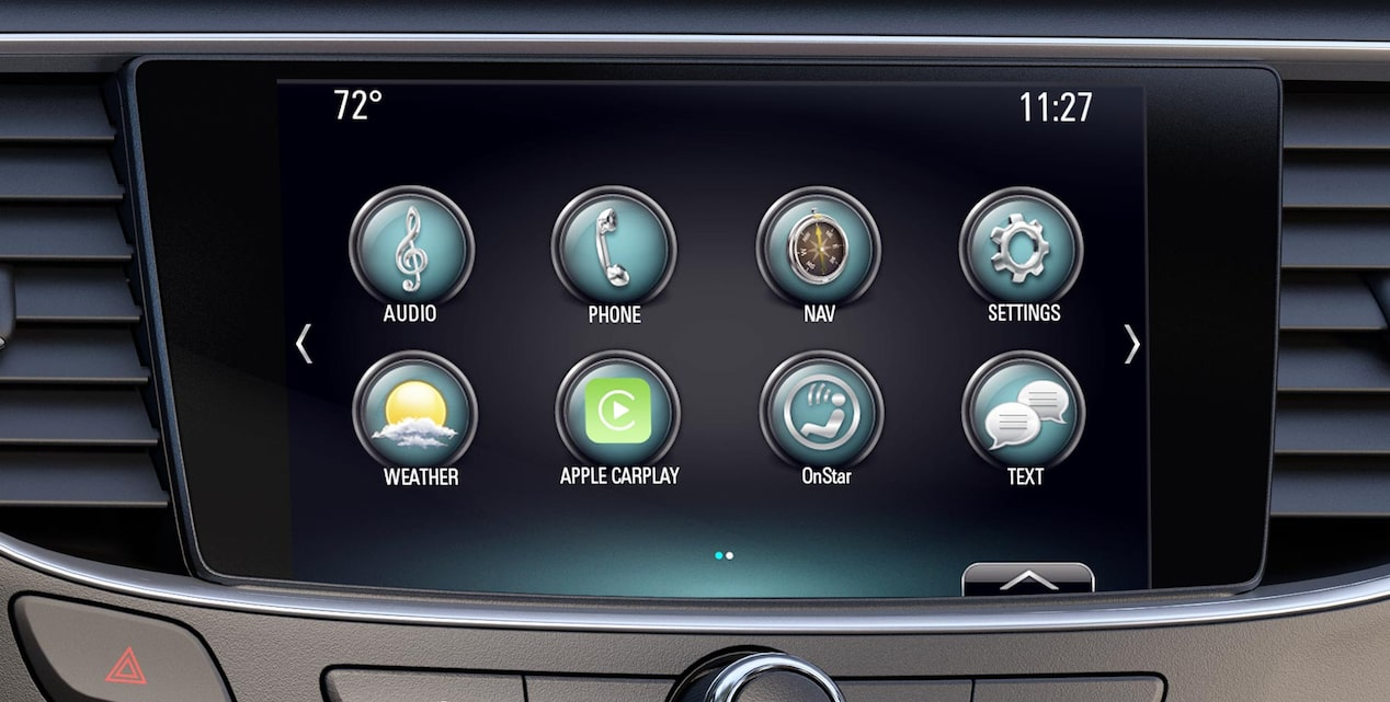Closeup image of the color touch display in a Buick vehicle using the plug and play features.