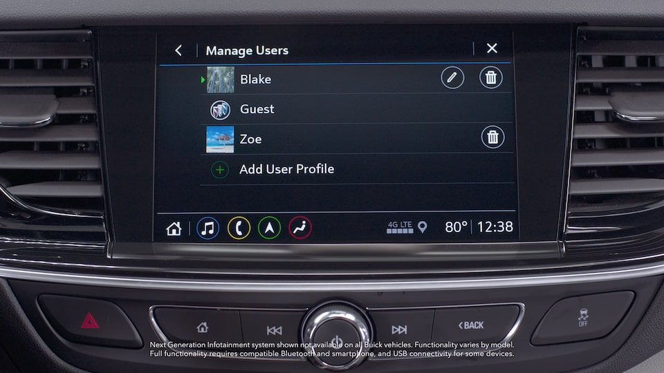 Buick Manage User Personalized Preferences