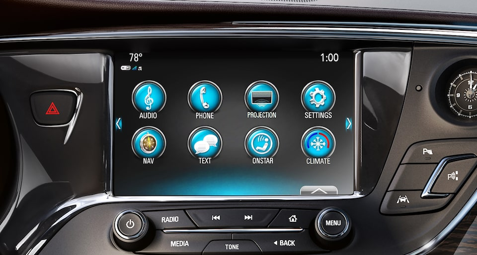 Image of infotainment system on the color touch display in a Buick vehicle.
