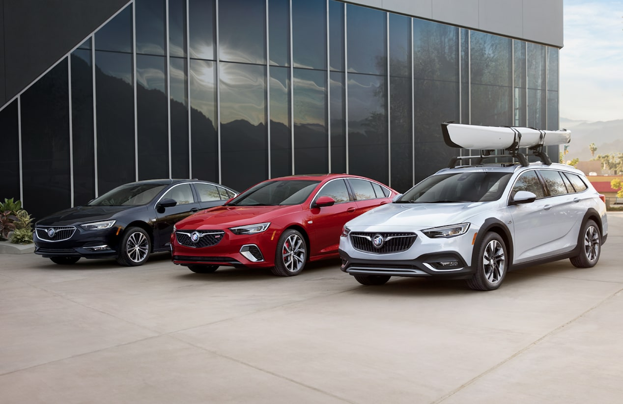 Image of the three 2018 Buick Regal models including Sportback, GS, and TourX.