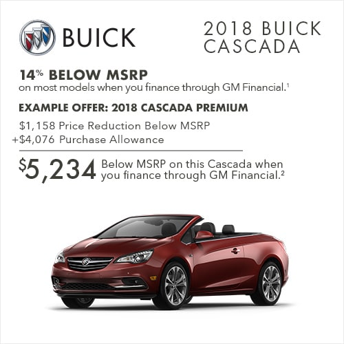 Get 14% below MSRP on most 2018 Buick Cascada luxury convertibles when you finance through GM Financial.