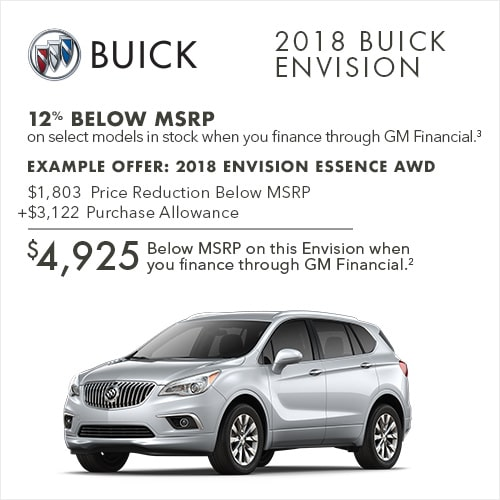 Get 12% below MSRP on select 2018 Buick Envision compact luxury SUVs when you finance through GM Financial.