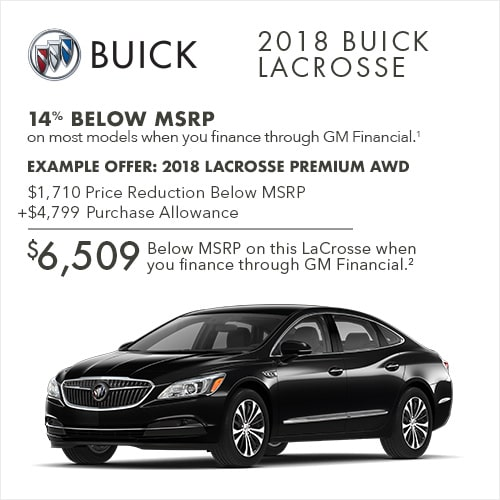 Get 14% below MSRP on most 2018 Buick LaCrosse full-size luxury sedans when you finance through GM Financial.