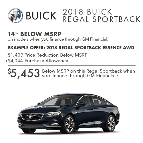Get 14% below MSRP on most 2018 Buick Sportback luxury sedans when you finance through GM Financial.