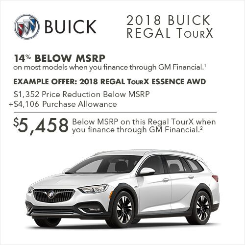Get 14% below MSRP on most 2018 Buick TourX luxury wagons when you finance through GM Financial.