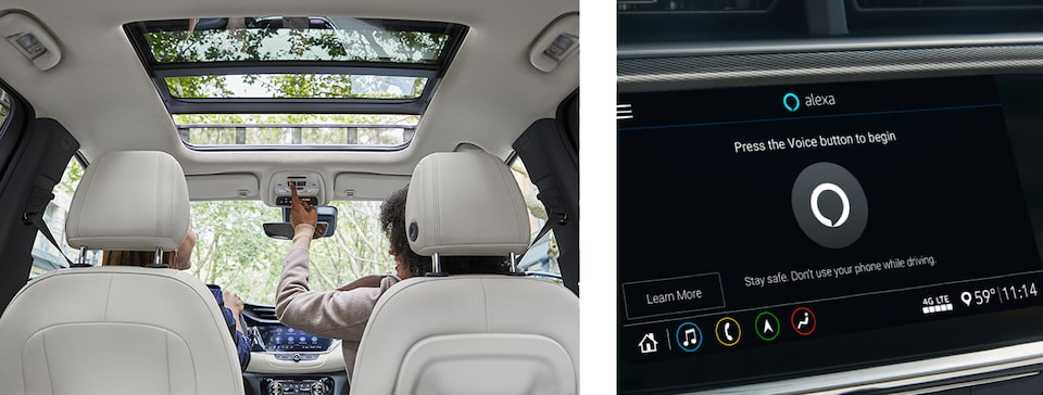 2020 Buick Encore GX Sunroof Aerial View and Amazon Alexa Touchscreen Shot