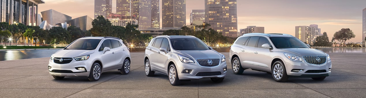 Masthead image for SUVs overview page featuring the three Buick models, Encore, Envision, and Enclave.