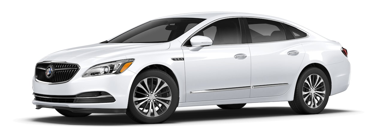 Image of the 2017 Buick LaCrosse full-size luxury sedan in summit white.