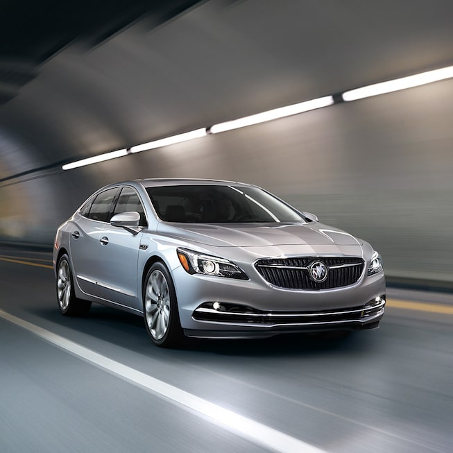 Image of the 2017 Buick LaCrosse full-size luxury sedan driving through a tunnel.