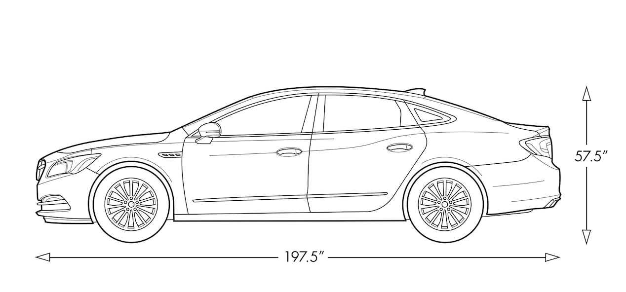 Diagram image showing the length and height of the 2017 Buick LaCrosse full-size luxury sedan.
