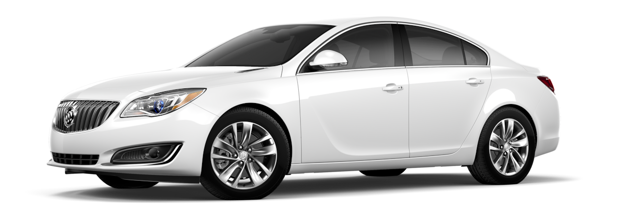Image of the 2017 Buick Regal mid-size luxury sedan in summit white.