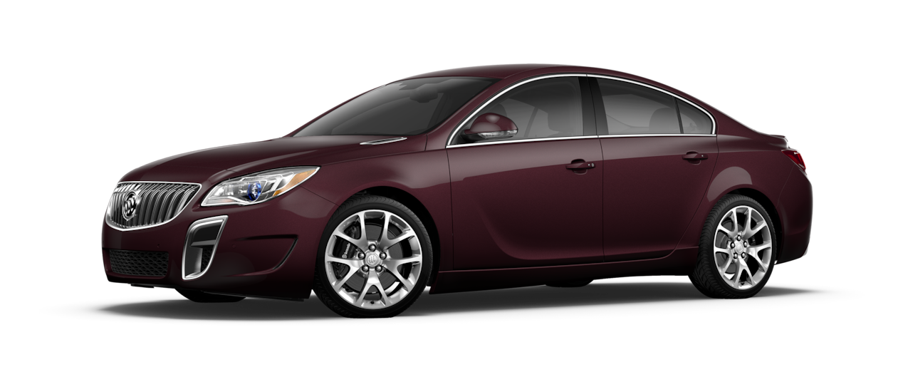 Image of the 2017 Buick Regal mid-size luxury sedan in black cherry metallic.