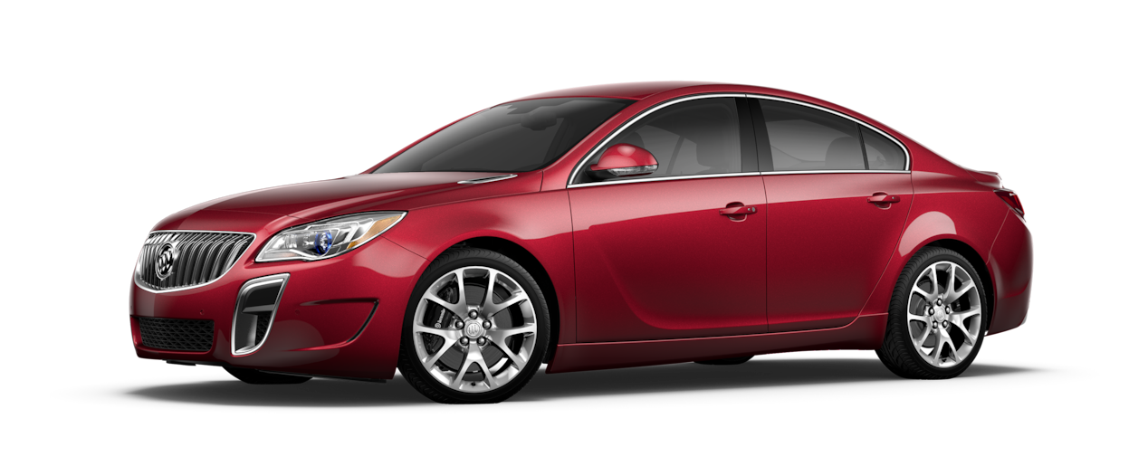 Image of the 2017 Buick Regal mid-size luxury sedan in crimson red.