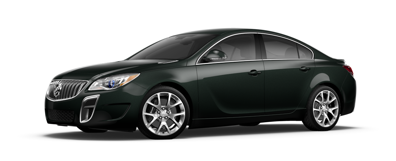 Image of the 2017 Buick Regal mid-size luxury sedan in ebony twilight metallic.