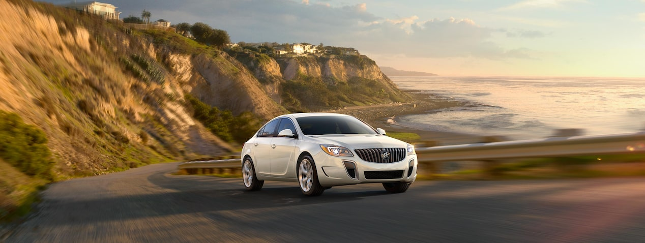 Masthead image for a page detailing the performance features of the 2017 Buick Regal mid-size luxury sedan.