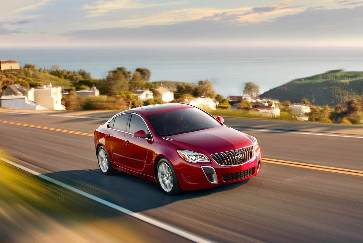 Image of the 2017 Buick Regal mid-size luxury sedan in motion on the road.