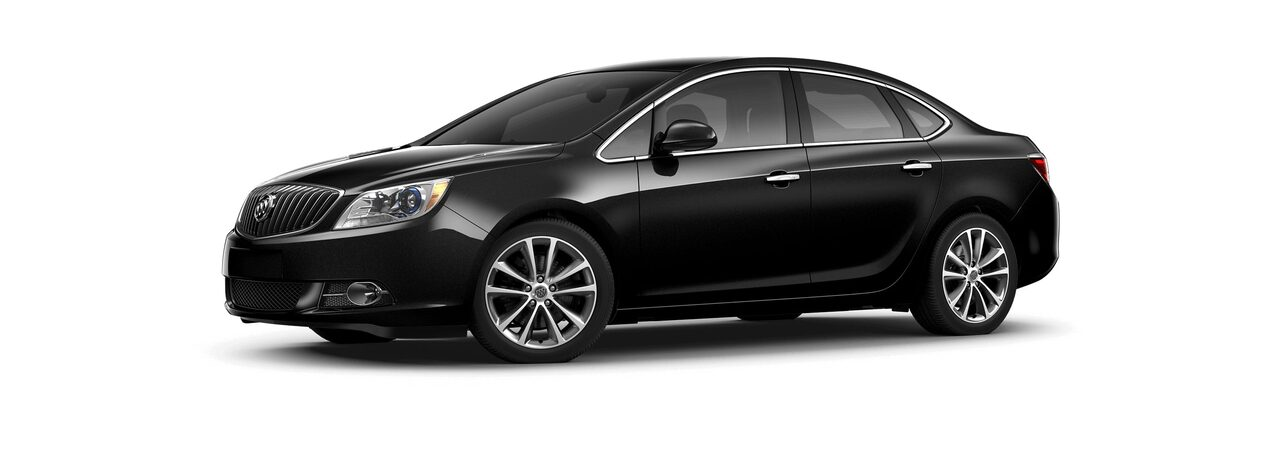 Image showing the 2017 Buick Verano small luxury sedan in ebony twilight metallic.