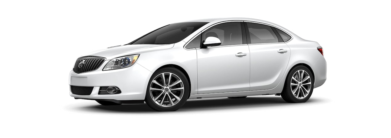 Image showing the 2017 Buick Verano small luxury sedan in summit white.