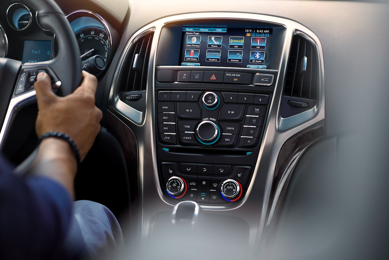 Image showing the infotainment system in the 2017 Buick Verano small luxury sedan.