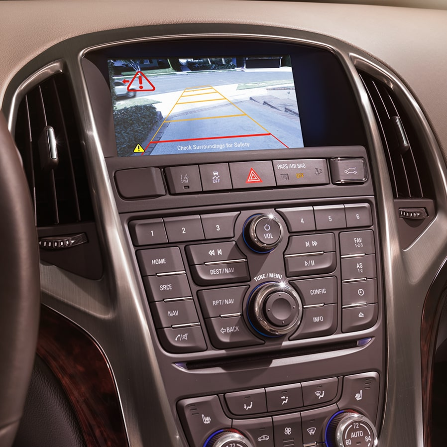 Image showing the parking assist rear vision camera operating in the 2017 Buick Verano small luxury sedan.
