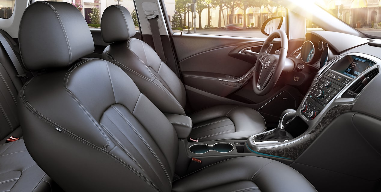 Image of the interior of the 2017 Buick Verano small luxury sedan exemplifying the quiet tuning of the vehicle.
