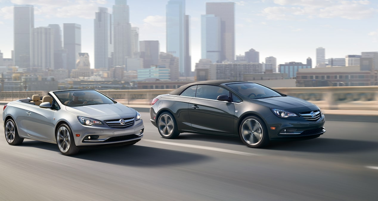 Image of the 2017 Buick Cascada luxury convertible in motion on the street featuring the available sport chassis.