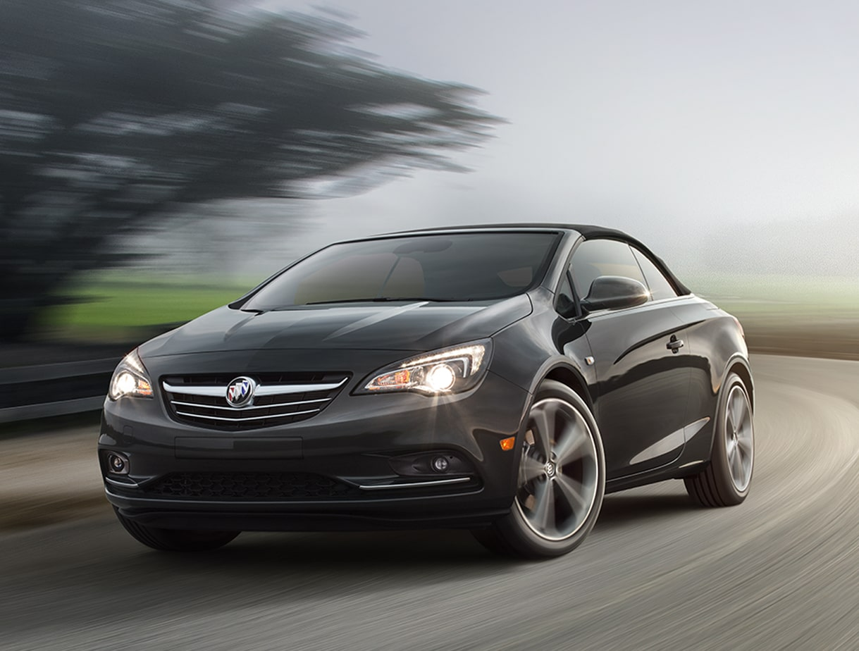 Image of the 2017 Buick Cascada luxury convertible in motion on the street featuring the available HiPer Strut Suspension system.