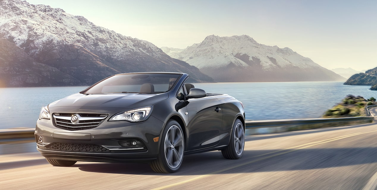 Image of the 2017 Buick Cascada luxury convertible in motion on the street featuring the available turbocharged  engine.