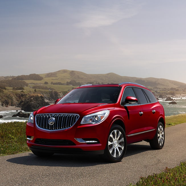 2017 Enclave mid-size luxury SUV Sport Touring shown in Crimson Red Tintcoat.