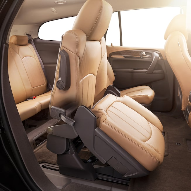 2017 Enclave mid-size luxury SUV Smart Slide second-row seats for easy access to the third-row.