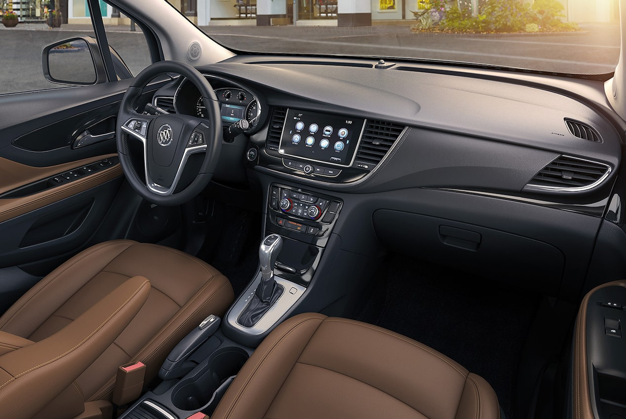 Heated seats inside the 2017 Encore compact luxury SUV.