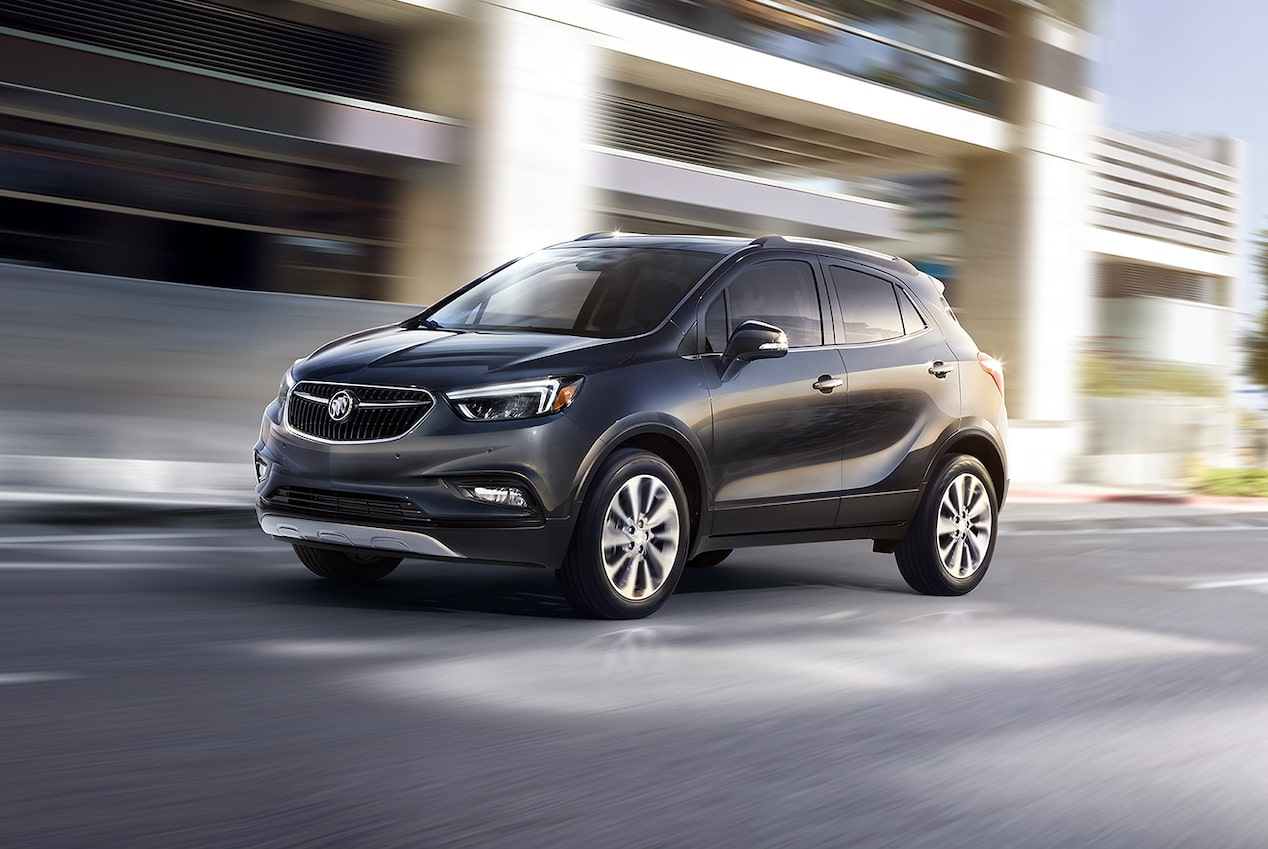 Sculpted exterior design of the 2017 Encore compact SUV.