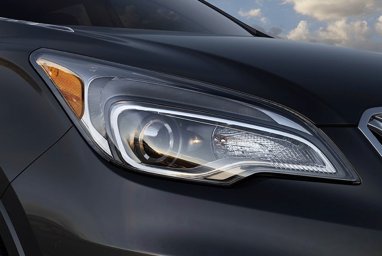 2017 Envision small luxury SUV exterior headlamps.