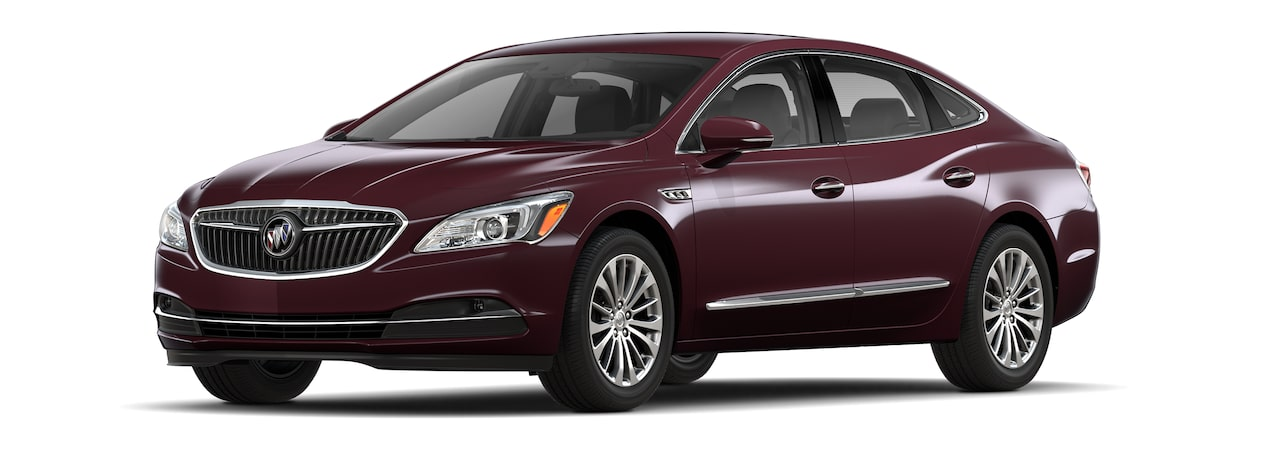 Image of the 2018 Buick LaCrosse full-size luxury sedan in Black Cherry Metallic.