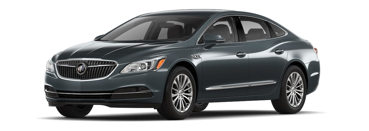 Image of the 2018 Buick LaCrosse full-size luxury sedan in dark slate metallic.