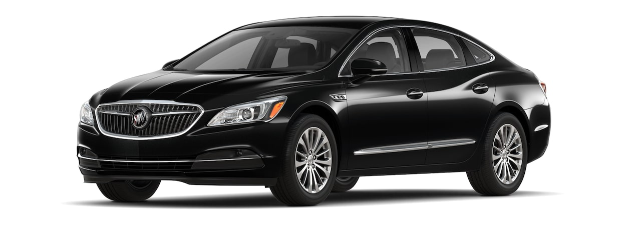 Image of the 2018 Buick LaCrosse full-size luxury sedan in ebony twilight metallic.