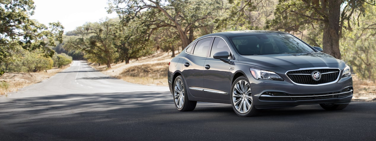 Masthead image for the page highlighting exterior features of the 2018 Buick LaCrosse full-size luxury sedan.