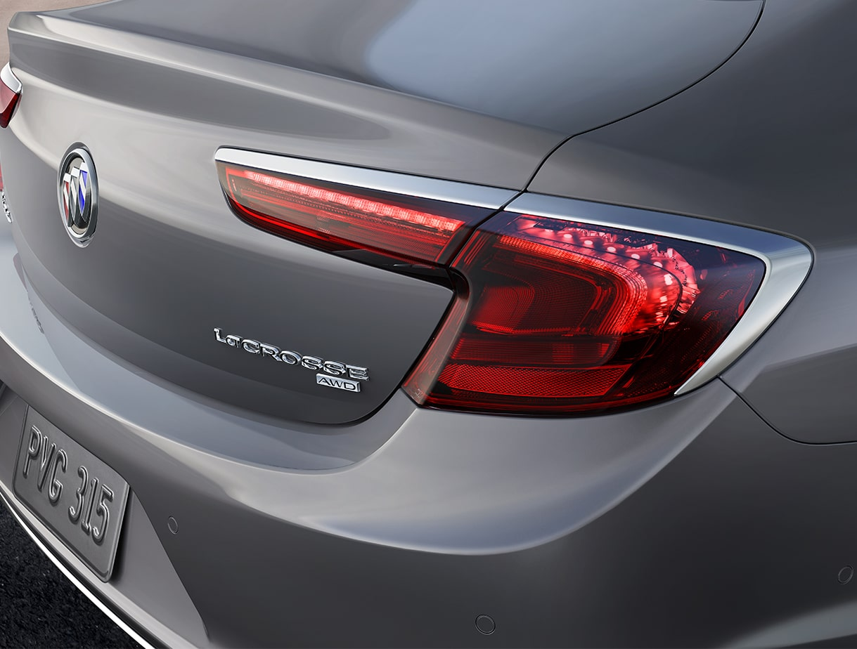 Closeup image of the taillight on the 2018 Buick LaCrosse full-size luxury sedan.