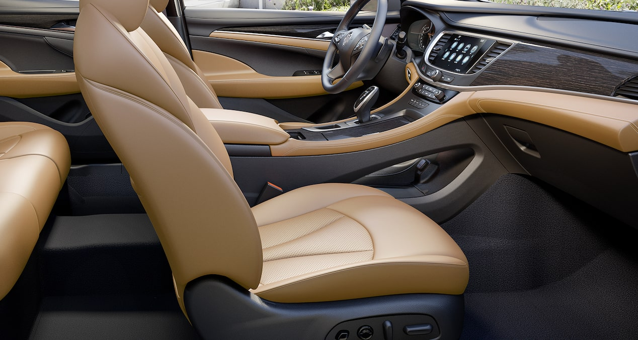 Image of the front cabin in the 2018 Buick LaCrosse full-size luxury sedan featuring the premium brandy interior.
