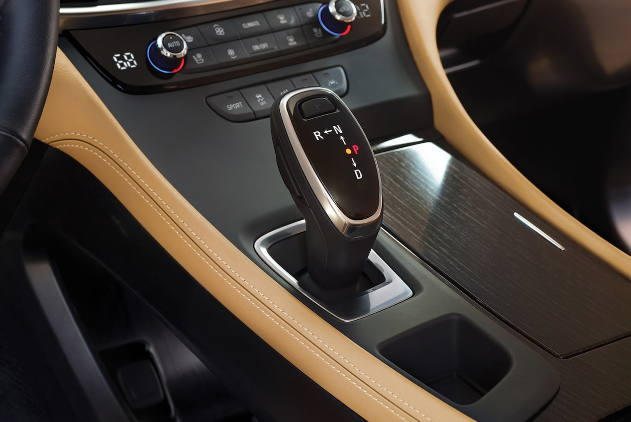 Image of the gear shift and center console in the 2018 Buick LaCrosse full-size luxury sedan.