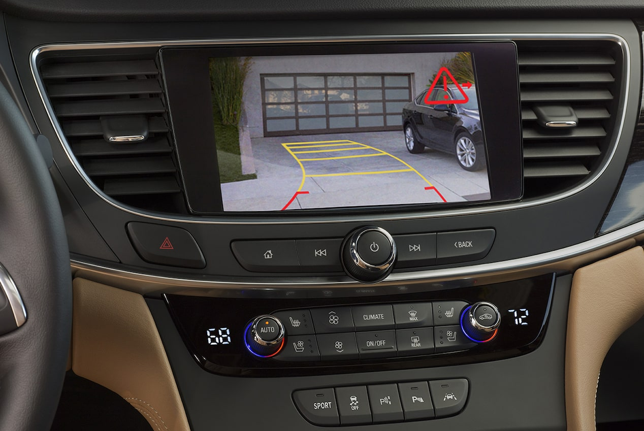 Image showing the parking assistance of the available rear vision camera in the 2018 Buick LaCrosse full-size luxury sedan.