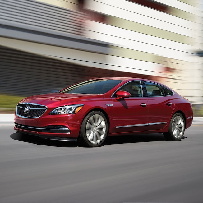 Exterior image of  the 2018 Buick LaCrosse full-size luxury sedan.
