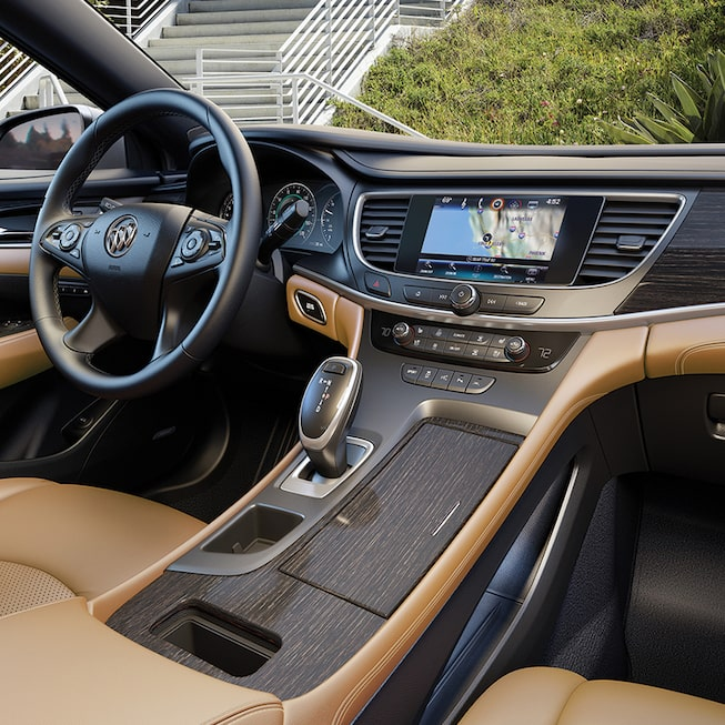 Interior image of  the 2018 Buick LaCrosse full-size luxury sedan.