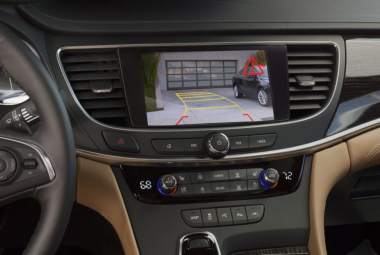 Image highlighting the parking assistance of the rear vision camera in the 2018 Buick LaCrosse full-size luxury sedan.