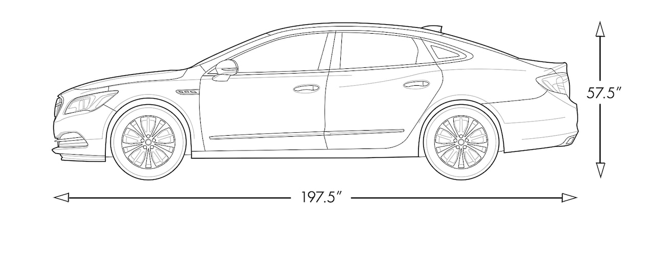 Diagram image showing the height and length of the 2018 Buick LaCrosse full-size luxury sedan.