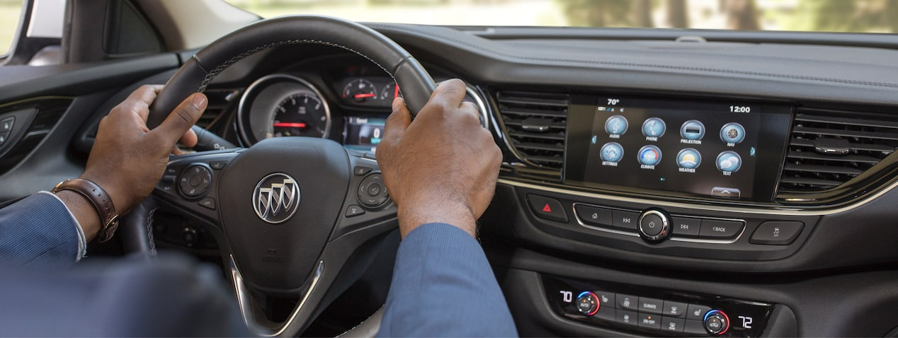 Masthead image for connectivity features of the 2018 Buick Regal TourX luxury wagon.